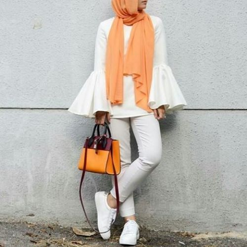 Bell sleeves blouse with hijab-Hijab spring 2017 – Just Trendy Girls