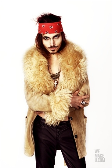 GYPSY PUNK // PHOTOSHOOT // WEMAKEU.COM // http://wemakeu.com/2013/02/21/gypsy-punk-photoshoot/  | #gypsy #punk #beige #white #black #red #blue #bandana #fur #jacket #pants #sneakers #johnny #depp #martens #cross
