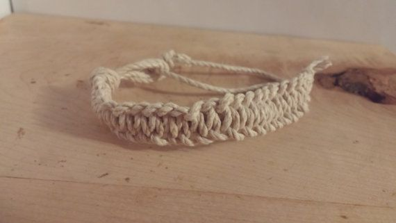 Check out this item in my Etsy shop https://www.etsy.com/ca/listing/459987022/adjustable-natural-hemp-macrame-bracelet