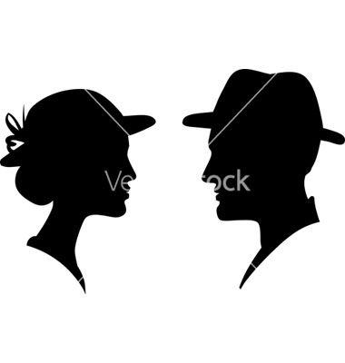 Man and woman profile silhouette vector | Ann and William's Holiday C ...