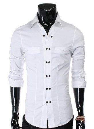 Doublju Mens Slim Fit Two-Button Shirt..for him