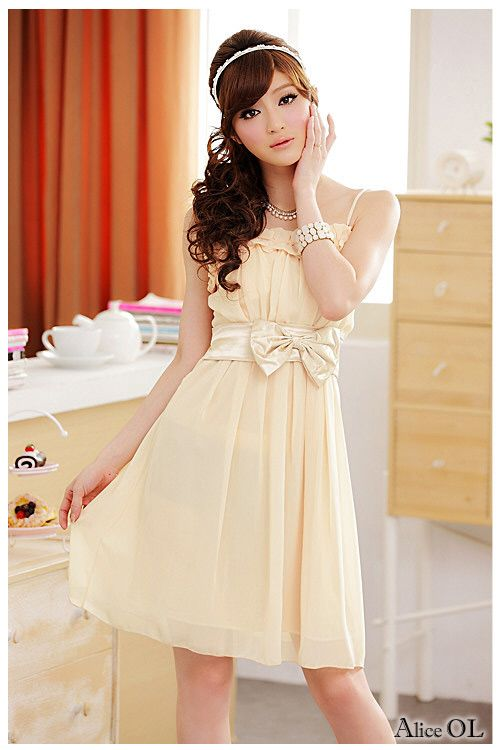2013 spring ladies sweet bow belt chiffon one-piece dress ...
