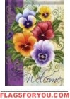 Pansy Welcome Garden Flag