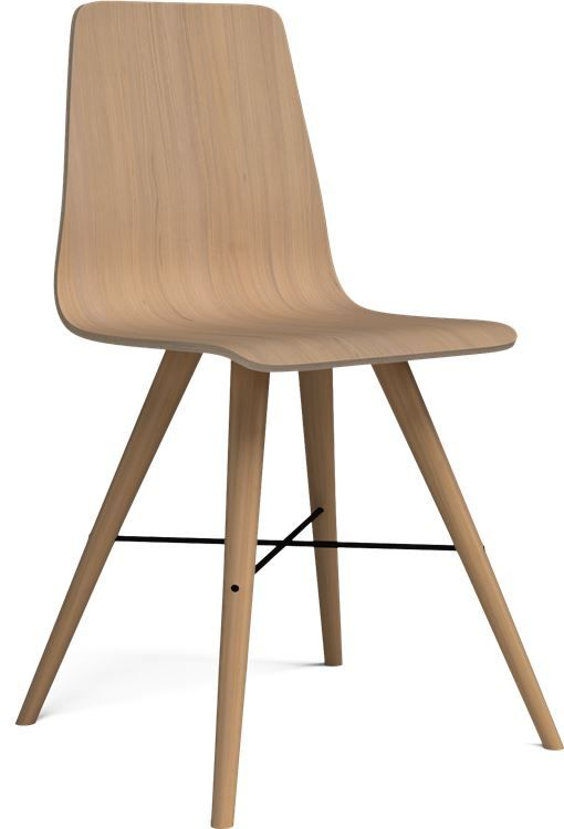 The BEAVER is a modern wooden dining-room chair with tons of character and exquisite detail. The steel cross and conical legs give it a dynamic mode of expression and a retro look. The laminate on the seating surface and on the backrest mean that the chair is easy to clean and can be used by anyone.