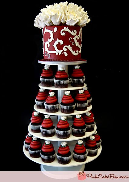wedding cake and cupcake tower - love it just not in this color. & 19 best cakes images on Pinterest | 2 tier wedding cakes Tiered ...