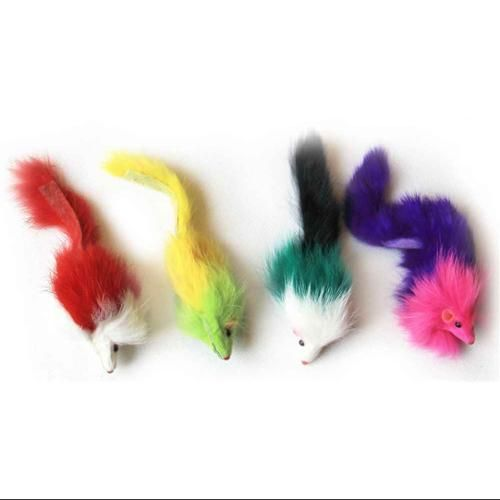 4-Pc Long Hair Mouse Toy