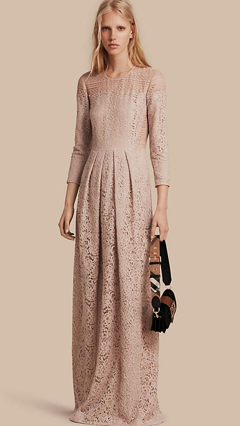Antique taupe pink Italian Lace Dress - Image 1