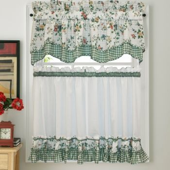 Dreams Green Floral with Gingham Check Kitchen Tier Curtain: BedBathHome.Com