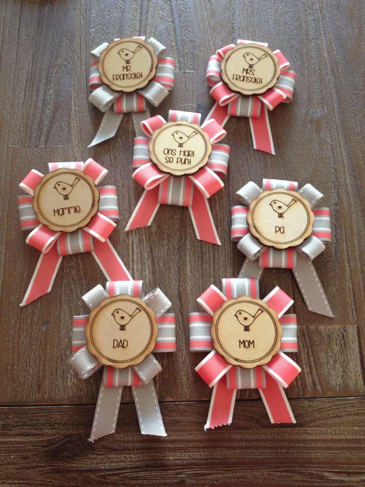 Beautiful bridal badge pins done by us!