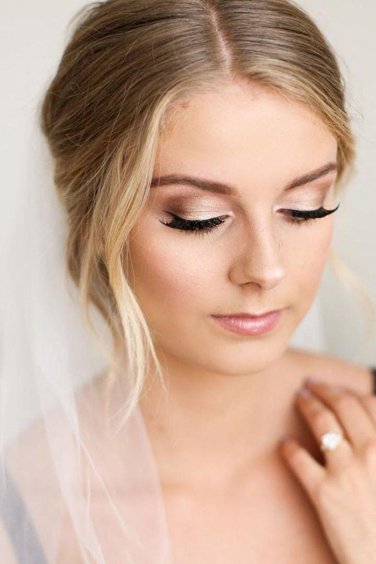 tolle 50 romantische Hochzeit Make-up-Ideen für Brünette viscawedding.com