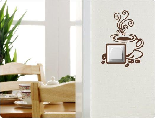 Elegant Wandtattoo Lichtschalter Steckdose Kaffee