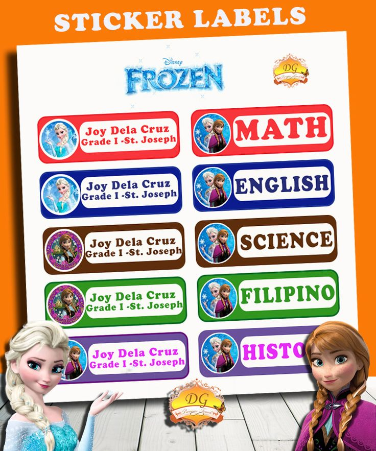 FROZEN STICKER LABELS :) BACK TO SCHOOL!! :)   Organize your child's school supplies such as books and notebooks with stickers! Put your child's name and school/ class section. Customize ANY CHARACTER and ANY COLOR! <3     Send us a message on facebook DG Precious Touch for your inquiries :)