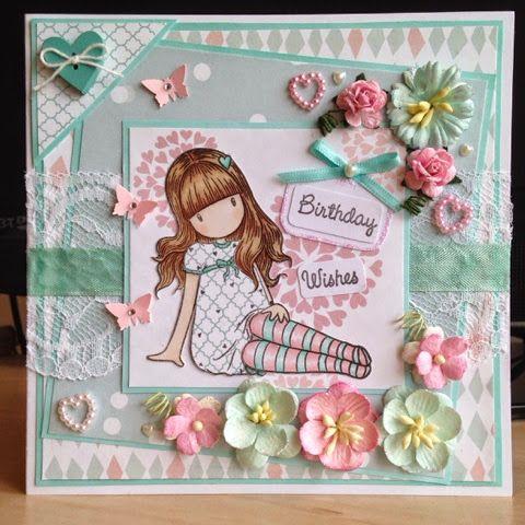Little Lucy's Handmade Cards: Gorjuss Sitting Pretty Birthday Wishes Card (Docrafts Gorjuss Stamp)