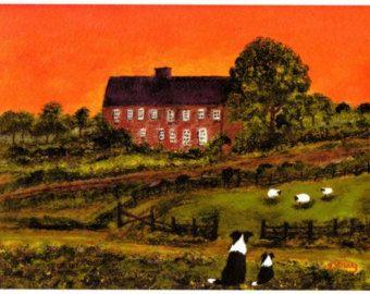 Border Collie hond Folk Art print van Todd Young schilderij zonsondergang WATCH