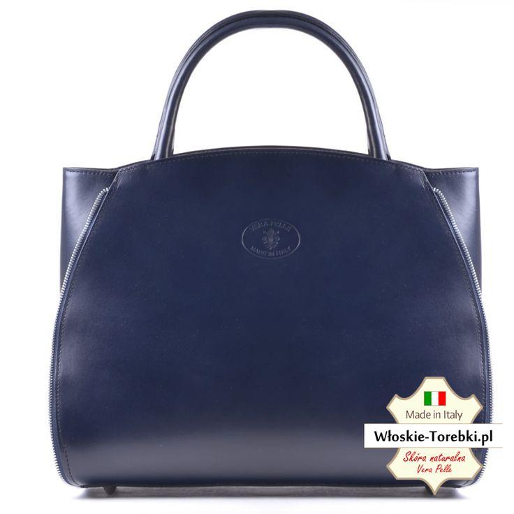 Pojemna granatowa włoska torba damska ze skóry licowej, mieści A4. Zobacz inne: http://wloskie-torebki.pl/sklep/granatowe-niebieskie/163-granatowa-skorzana-torba-tiziana-pojemny-kuferek-a4.html