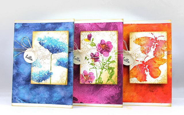 bright and beautiful cards: Inchie Arts and Distress Paints by jillianavery8222, ...dabbed Distress Paints directly onto the stamp ... then sponged and stamped some more shading with Distress Inks ... gorgeous!!