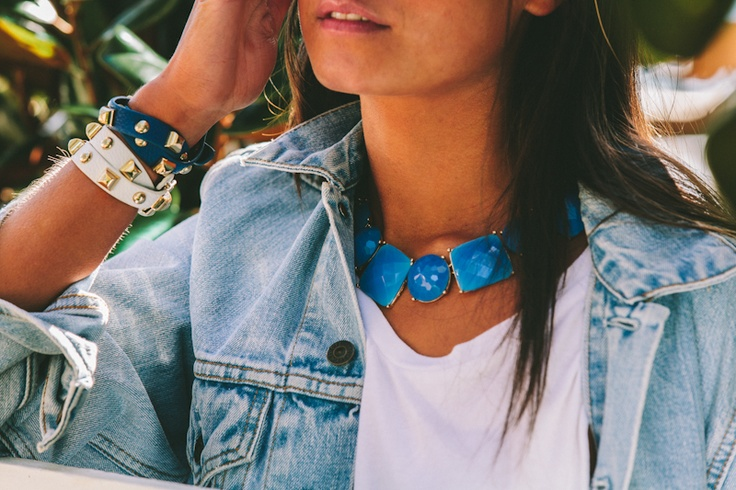 Lola & Syd Blue Bling Necklace and White and Blue Stud Wraps
