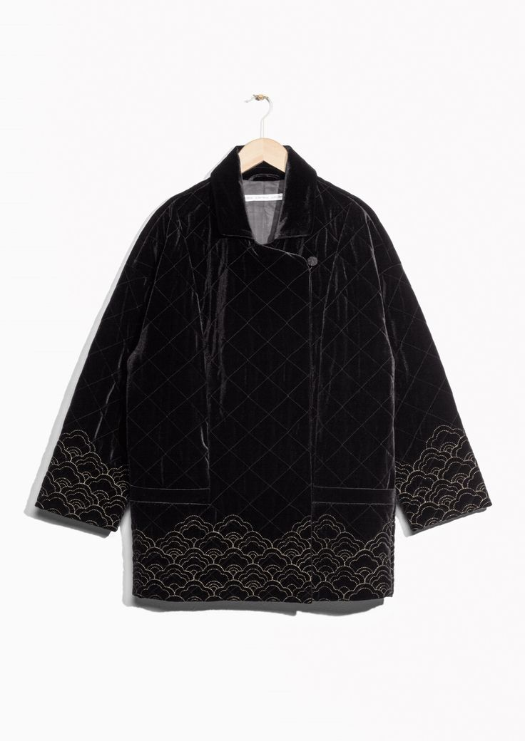 & Other Stories image 1 of Quilted Velvet Jacket  in Black