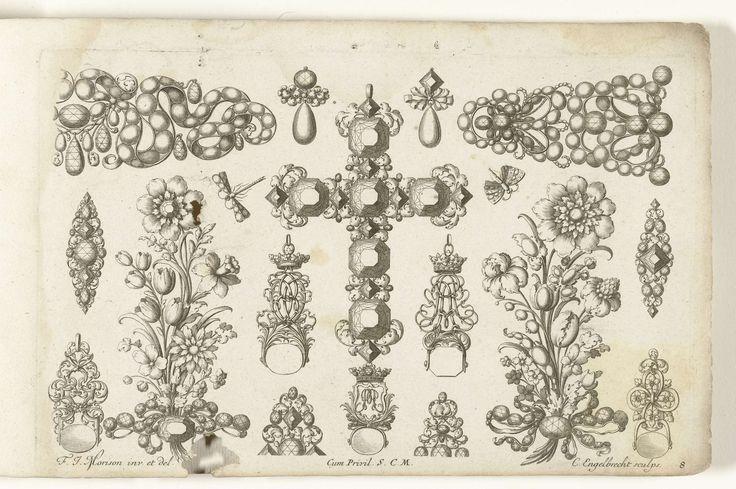 Seventeen designs for jewelery, Christian Engelbrecht, to Friedrich Jacob Morrison, after 1699 - before 1724  etching, h 159mm × 252mm. Zeventien ontwerpen voor juwelen, Christian Engelbrecht, na 1699 - voor 1724