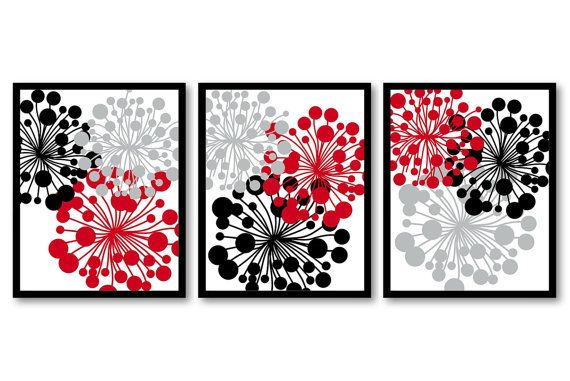 Hey, I found this really awesome Etsy listing at https://www.etsy.com/listing/204956830/red-black-grey-dandelion-setof-3-art