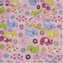 Bavlna růžová, barevná slůňata, š.140