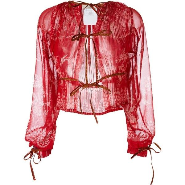 Etro Knot Detail Sheer Blouse (£1,570) ❤ liked on Polyvore featuring tops, blouses, red, transparent tops, etro tops, knot top, red sheer blouse and see through blouse