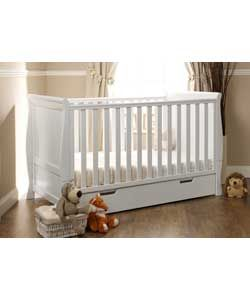 Obaby Lincoln Sleigh Cot Bed - White.
