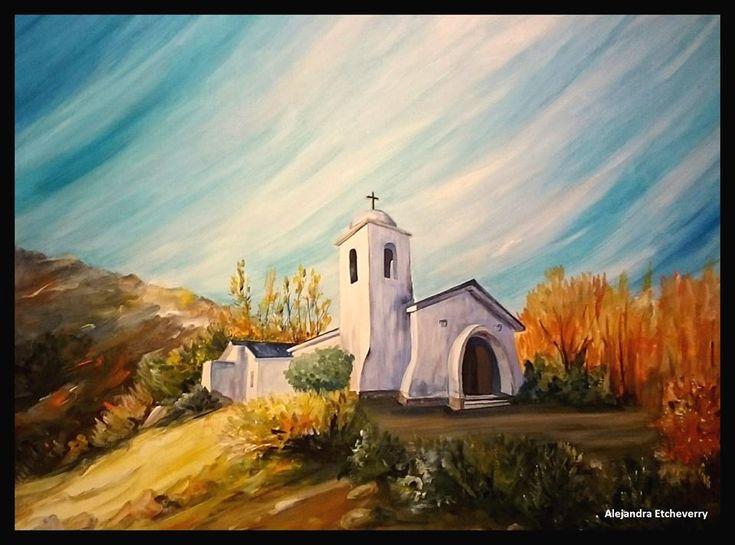 Título: Iglesia de San Antonio en Potrero de los Funes - Acrílico sobre tela (80x60cm) - San Luis, Argentina - Autora: Alejandra Etcheverry