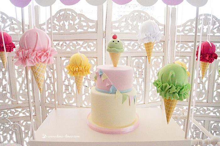 """Ya tenemos mucho calor pero aún así queremos seguir celebrando este verano, por eso, hoy te compartimos algunas imágenes de la decoración de una fiesta de cumpleañosen colores pastel basada en algo que nos gusta mucho: ¡la nieve! <3 <3 <3 Lo bueno de esta """"Ice cream party"""" es que puedes aplicarla en algún local cerrado o uno abierto (como una alberca, por ejemplo), y que tú misma puedes hacer los adornos con algunos artículos que encontrarás fácilmente en las papelerías. Pero ok, basta de…"""