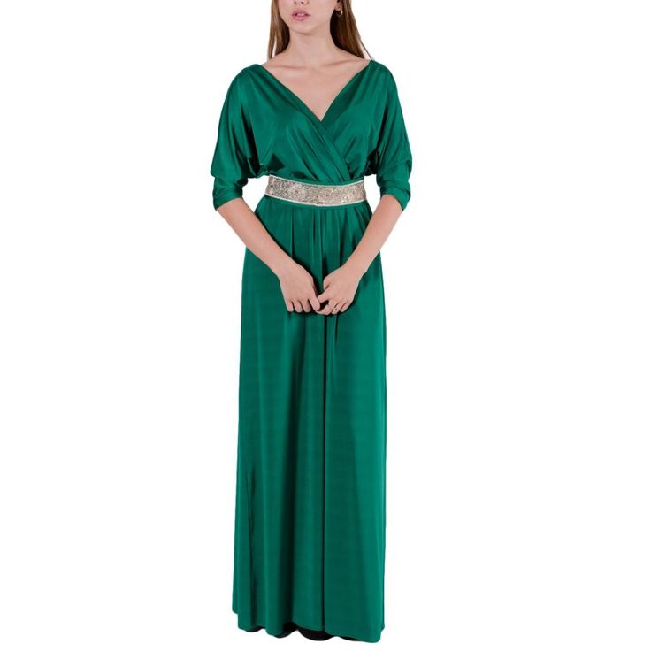 VENER Πράσινο cool jersey φόρεμα, κρουαζέ, κεντημένη ζώνη