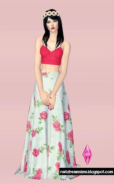 Sims 2 Floral Dress http://natdreamsims.com/index.php/2015/10/18/top-de-croche-e-saia-floral-the-sims-2/