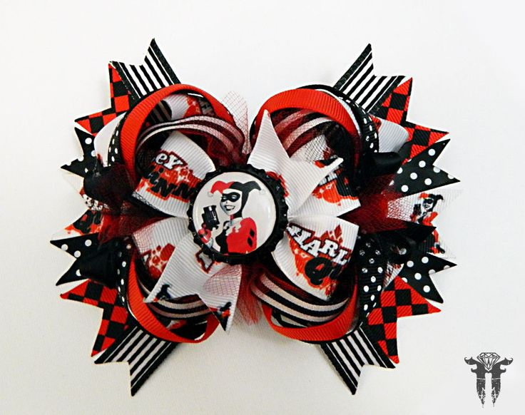 "Harley Quinn Super Villian Batman Boutique OTT Hair Bow Joker Red Black White 6"" #FemmortalFashions"