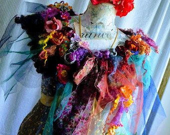 Fairy romantic bohemian necklace textile collage with