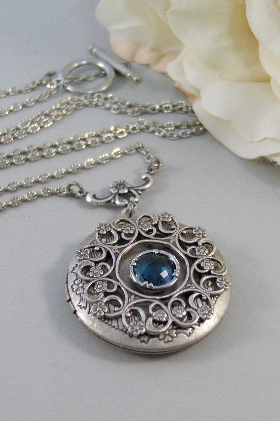 Sapphire Lace,Locket,Antique Locket,Silver Locket,Bird,Sapphire,Blue,Navy,Birthstone. Handmade jewelry by Valleygirldesigns.