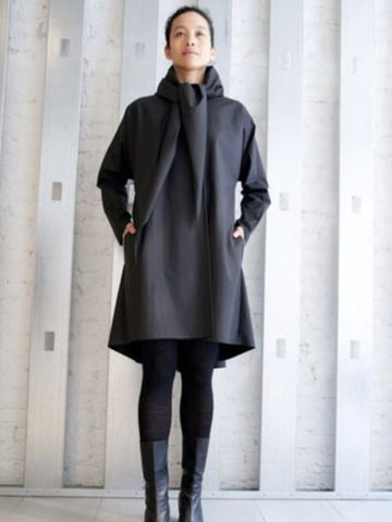 Yeohlee Long Sweep Black Raincoat With Scarf by YEOHLEE from YEOHLEE Women's Clothing