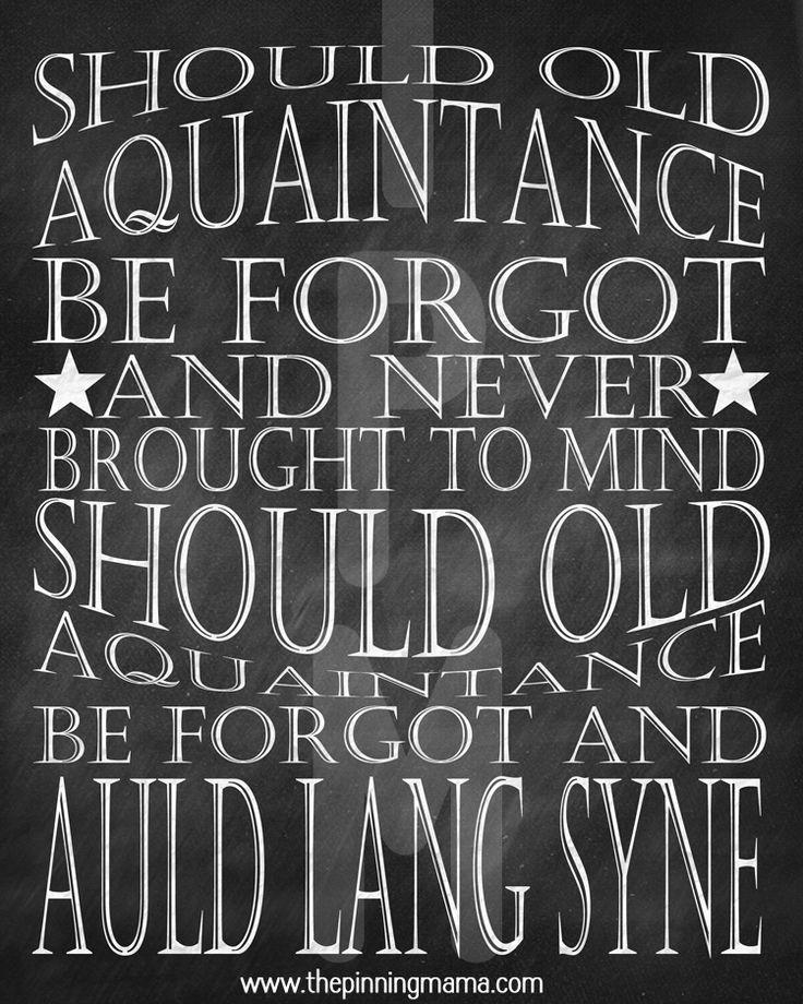 New Year's Eve Free Printable Word Art  #freeprintable #newyearseve #auldlangsyne