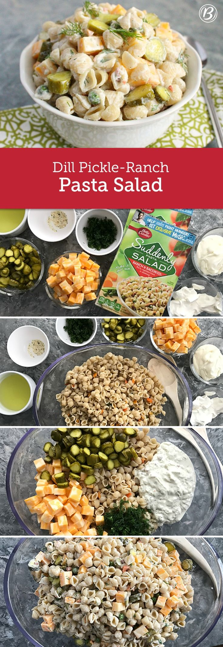 Your summer cookout will never be the same after you make this pasta that packs a dill pickle punch and comes together in three simple steps. Try using the extra seasoning mix to jazz up a chicken or tuna salad.
