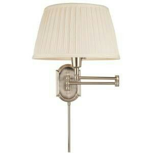 Charming Hampton Bay Brushed Nickel Swing Arm Wall Lamp With White Pleated Fabric    The Home Depot