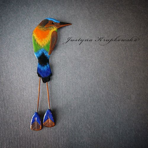 Turquoise browed motmot - brooch by Justyna Krupkowska Jewelry