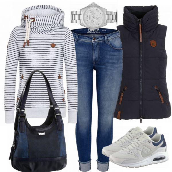 Freizeit Outfits: Sweat bei FrauenOutfits.de ___ Dieses schöne Outfit rund um die coolen Sneaker ist ein echter Eyecatcher. Das Outfit eignet sich für den Alltag und für jegliche Freizeitaktivitäten. So ist man Herbst definitiv gut gekleidet.