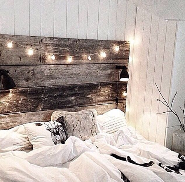 I love the headboard (minus lamps) & the fairy lights