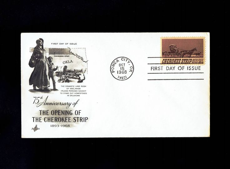 US 1360 Cherokee Strip Oct 15, 1968 Ponca City OK First Day Cover lot #F1360-1 by VicsStamps on Etsy