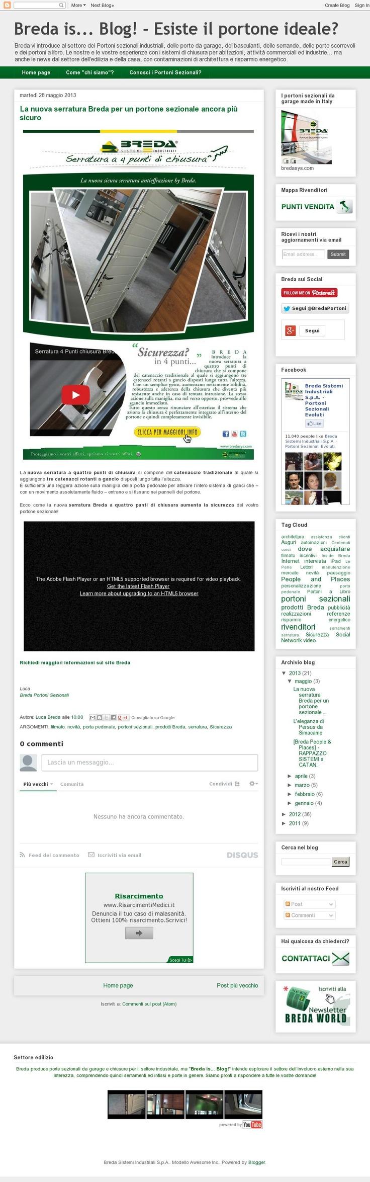 La nuova serratura Breda per un portone sezionale ancora più sicuro! http://blog.bredasys.com/2013/05/serratura-sicurezza-breda-4-punti-di-chiusura.html #serratura#breda #sicurezza #portoni #sectional #doors