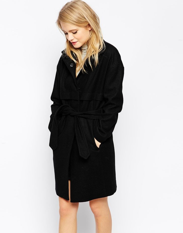 Image 1 of ASOS Cocoon Coat With Funnel Neck