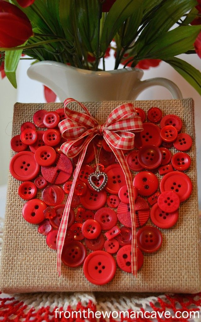 From The Woman Cave. Red button heart on a burlap canvas. What a sweet Valantine!