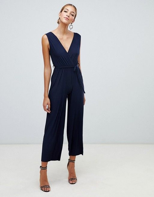 d62608c1bd2 Boohoo pleated jumpsuit in navy in 2019