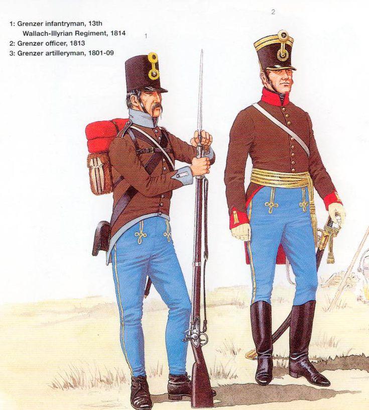 Austrian; Grenzer, Infantryman Wallach-Illyrian Regiment 1814 & Grenzer Officer 1813 from Ospreys Men At Arms 299