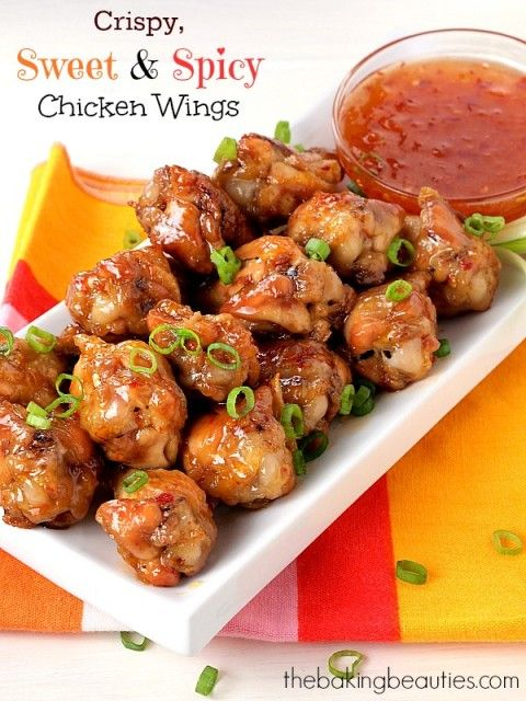Sweet and Spicy Chicken Wings - peach jam, lime juice, chili paste in the recipe...YUM