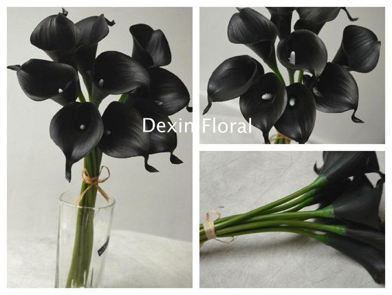 Black Calla Lilies Centerpieces Black Real Touch by DexinFloral