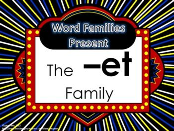 Word Family Packet (The -et Family) - Word list for students and/or parents -Words for word wall and/or flash cards Cut and paste activity to create word family words Trace and write the word family words Mini-book for students to color and practice reading word family words. Underline the word family words in the story printable. Word family word search. Word family maze 2 color by word pages $
